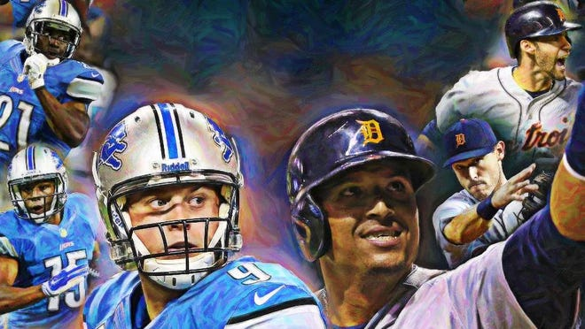 Lions from top to bottom, on the left: Reggie Bush, Golden Tate, Matthew Stafford and Ndamukong Suh. Tigers from top to bottom, on the right: J.D. Martinez, Ian Kinsler, Victor Martinez and Justin Verlander.
