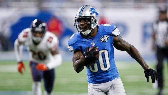 Detroit Lions wide receiver Anquan Boldin runs after a catch against the Chicago Bears on Dec. 11, 2016, at Ford Field.