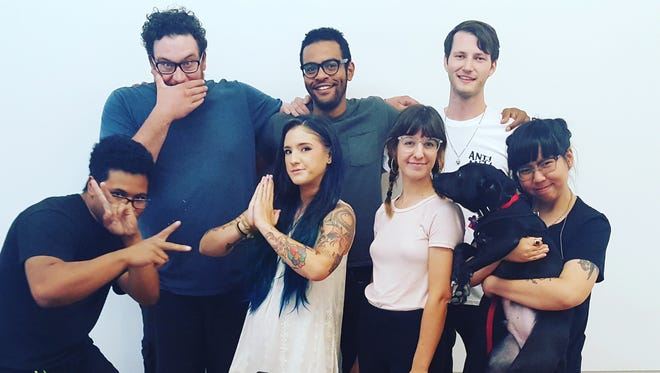 Members of the Heavenly Dogs collective include, front row from left: Dino (DJ) Valdez, Shaina Kasztelan, Heidi Barlow, Tank the dog and Maggie Nguyen. In the back row are Korey, Nick JP and Brach Goodman.