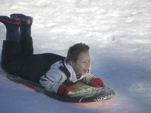 T.J. Kichenmaster, 11, flies down the hill at the Santiam