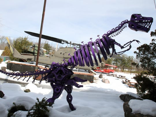 One of the dinosaurs at Greek's Playland, a more than 80-acre barrier free fantasyland in Monroe.