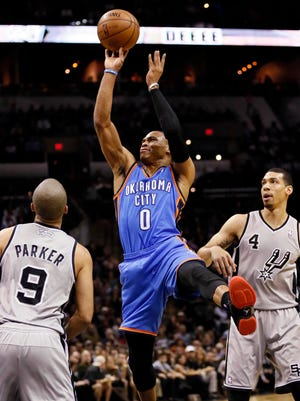 Russell Westbrook (0) scored a game-high 31 points for the Thunder.