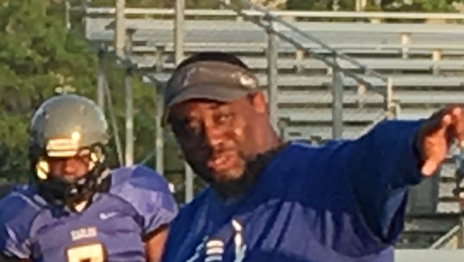 Faulkner defensive coordinator Tracy Buckhannon during Monday's spring football practice on Monday, Apr. 10, 2017 on the Faulkner University campus