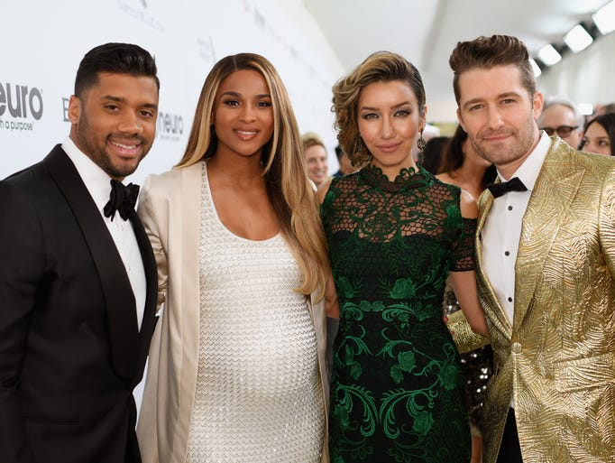 Russell Wilson, left, Ciara, Renee Puente, and  Matthew