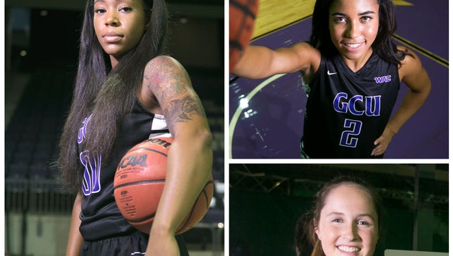 Grand Canyon University basketball players Courtney Hayes (left), August Touchard (top right) and Jessica Gajewski (bottom right).