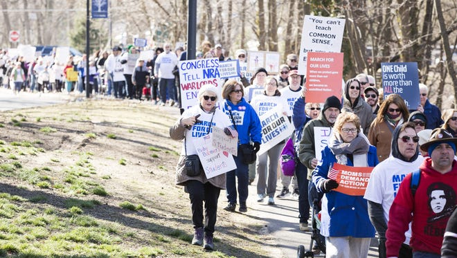 Nearly 1,000 march for gun control in the first annual March For Our Lives in Audubon, NJ on March 24.
