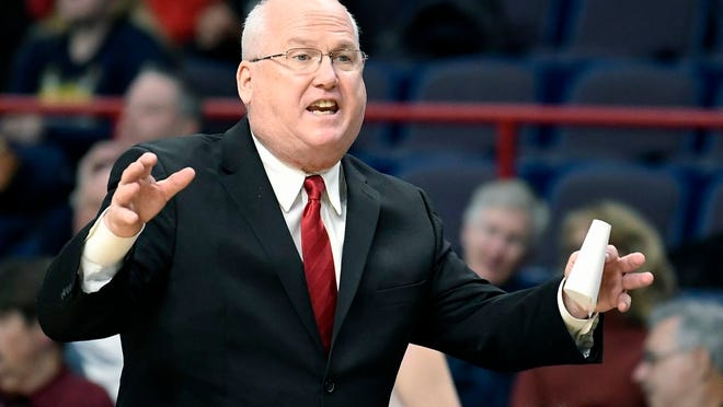 Marist head coach Brian Giorgis reacts to a play during the first half of an NCAA college basketball game against Marist in the championship of the Metro Atlantic Athletic Conference tournament Monday, March 5, 2018, in Albany, N.Y.