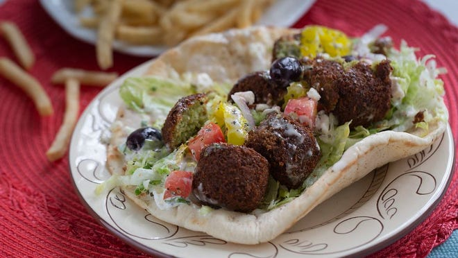 Falafel sandwich and fries from Taste of Greece and Moroccan food truck