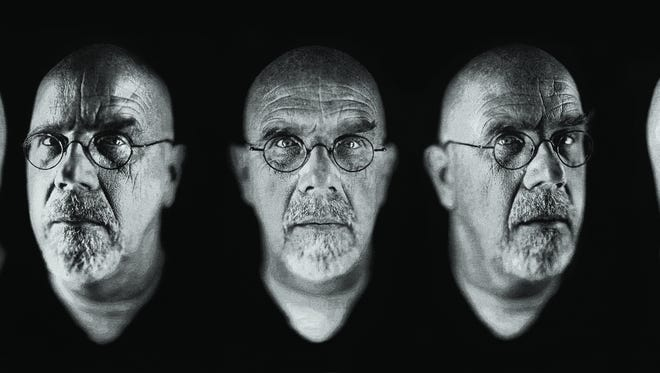 Although he doesn't consider himself a portrait artist, Chuck Close's favorite subject has consistently been himself. The show has eight self-portraits spanning 30 years. 'Chuck Close, Self-Portrait/Five Part,' was created in 2009. It is a  Jacquarad Tapestry.