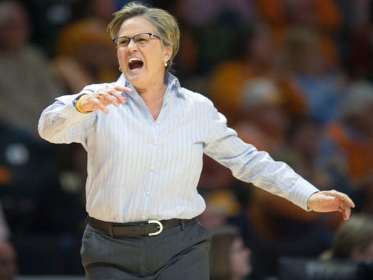 Tennessee's Holly Warlick yells out after a foul was