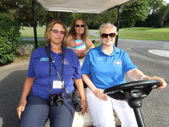 WomanÕs Club of Parsippany-Troy Hills members Diana Freidinger, l, Diane Monaco and Jennifer Biondo during the Clubs 35th Annual Tee Off for Education Golf Classic & Luncheon Social at  Knoll Country Club West. The Classic will raise funds to for the WCPTHÕS Scholarship and Education Fund. July 12, 2016, Parsippany, NJ