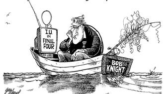 IU fired Bob Knight in 2000. In 2002, his former team went to the final game while Knight engaged in one of his favorite past-times – fishing.