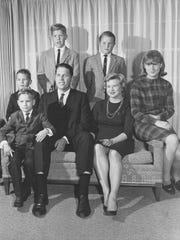 A family picture of the Alberston family taken in 1966 for Christmas cards. Standing, from left to right, are Stephen and Charles. Seated are Phillip, Richard, father James, mother Janice, and C.L. (now Fornari).