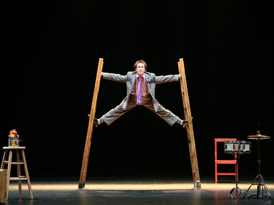 Jamie Adkins performs his show Circus Incognitus at the Spruce Peak Performing Arts Center in Stowe on Saturday.