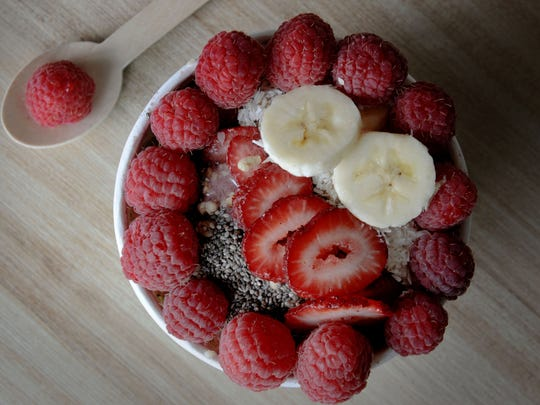 An Acai Brazilian smoothie bowl is served at Rave Organics