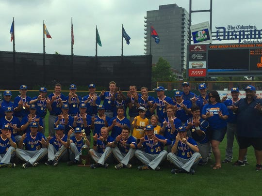 The Moeller baseball team, along with Christy and Lucky