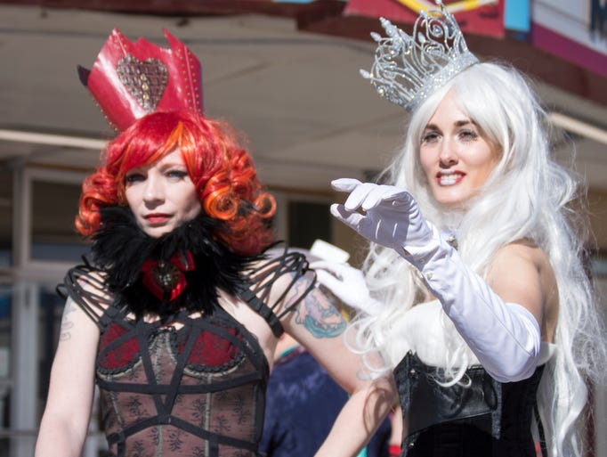 Cosplayers dressed as various popular characters for