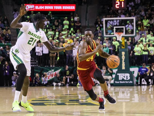 Iowa State guard Terrence Lewis drives the lane against