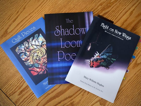 Mary Hughes has published three books of her poetry shown Thursday, April 5, at her home in Waite Park.
