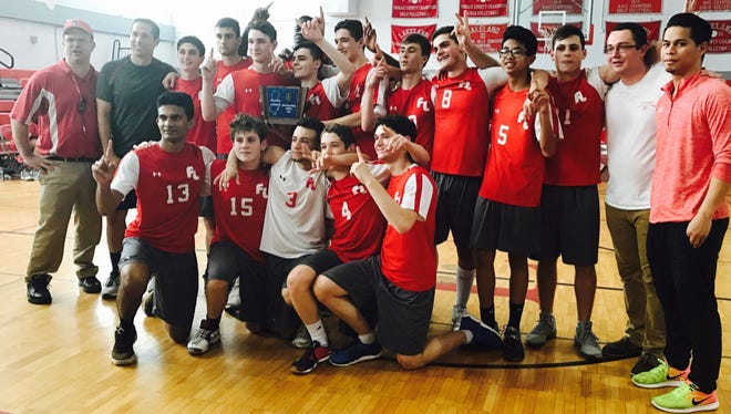 Fair Lawn gathers to celebrate after winning the North 1 title in boys volleyball