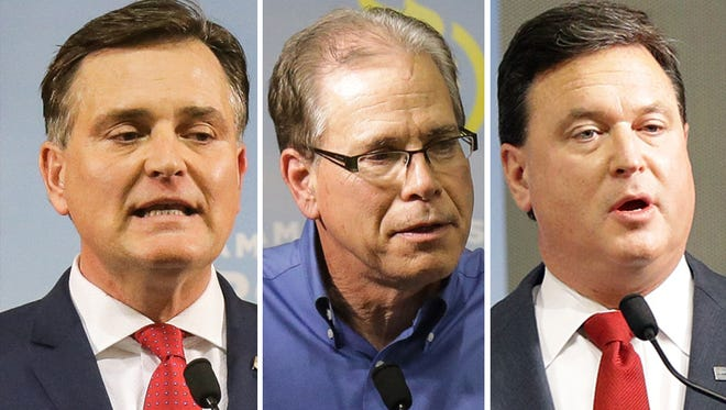 GOP U.S. Senate candidates from left: Luke Messer, Mike Braun and Todd Rokita.