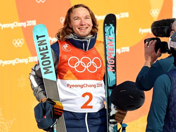 David Wise reacts in the men's freestyle skiing halfpipe