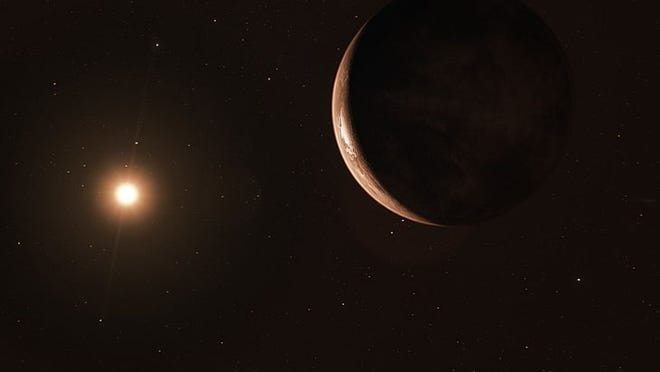 An artist's impression of Barnard's Star and its planet, which is about 3.2 times the size of Earth. [Photo by ESO/M. Kornmesser (Own work) [CC BY-SA 4 (https://creativecommons.org/licenses/by-sa/4)], via Wikimedia Commons]