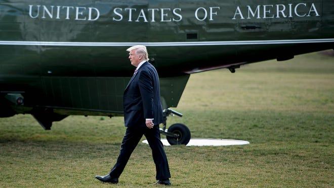 President Trump walks to Marine One on Jan. 26, 2017.