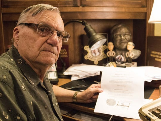 Former Maricopa County Sheriff Joe Arpaio with his