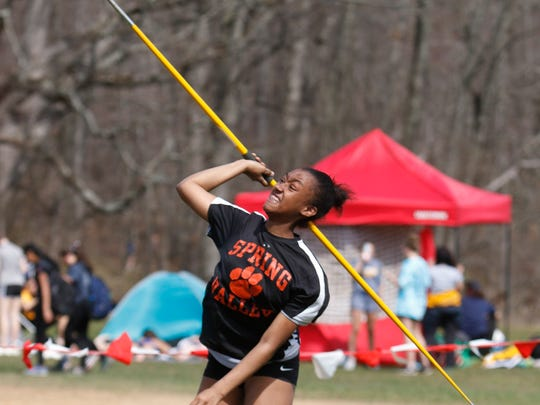 Spring Valley's Nieasia Thomas throws the javelin at the Red Raider Relays at North Rockland High School in Thiells on Wednesday, April 12, 2017.