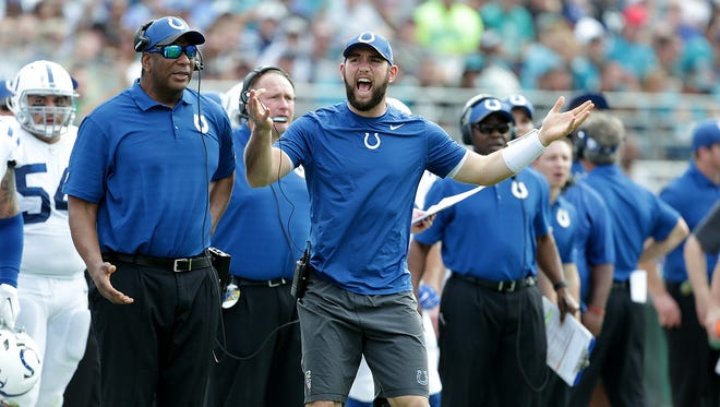 Indianapolis Colts quarterback Andrew Luck (12) reacts to a delay of game penalty called on the Colts in the first quarter of their game at EverBank Field in Jacksonville FL.