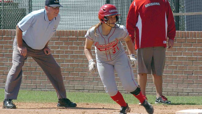 UL's Corin Voinche takes her lead off first base during the Cajuns? doubleheader sweep of Texas State on Saturday at Lamson Park.