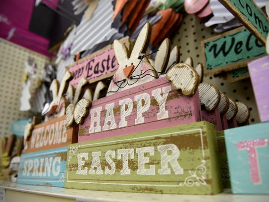 Traditional pastel colors shown in these themed signs