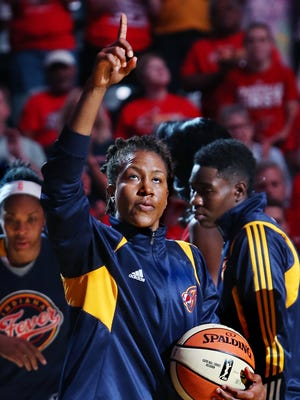 In this Sept. 3 file photo, 13-year veteran Indiana Fever forward, Tamika Catchings, is introduced at the beginning of the final game of the WNBA Eastern Conference Finals at Bankers Life Fieldhouse in Indianapolis.