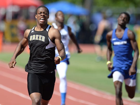 Greer's Troy Pride wins the AAA Boys 400 meter dash during the AAA/AAAA State Track Meet on Saturday, May 14, 2016 at Spring Valley High in Columbia.