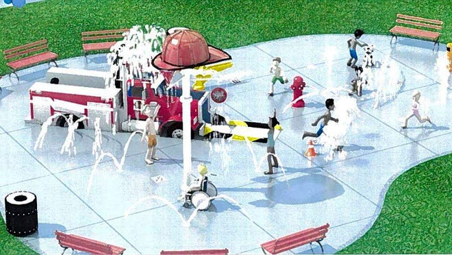 A rendering of what the new spray park might look like.