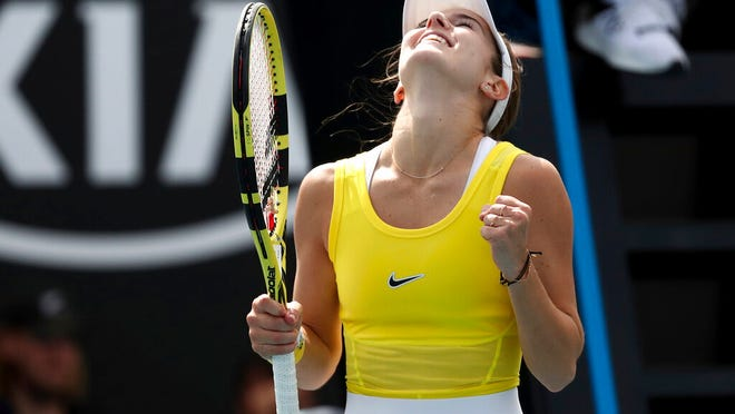 CiCi Bellis of the U.S. celebrates after defeating Karolina Muchova of the Czech Republic in their second round singles match at the Australian Open tennis championship in Melbourne, Australia, Thursday, Jan. 23, 2020.