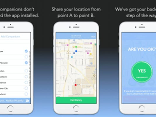 Screenshots from the Companion app show that users can send alerts to friends in their contact list that they're walking home, and easily call 911 if something went wrong.