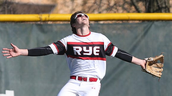 Rye defeated Harrison 5-3 in baseball action at Disbrow Park in Rye April 26, 2018.