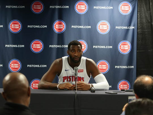 Pistons' Andre Drummond talks with reporters at media