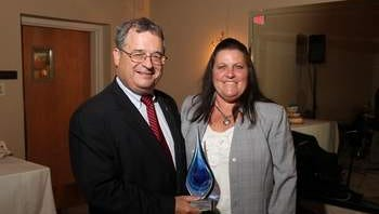 New Jersey Clean Communities Council President Patrick L. Ryan and Williamstown Middle School Teacher Jill Baturin.