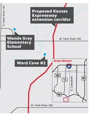Map shows the cave's location in relation to the proposed Kansas Expressway extension corridor.