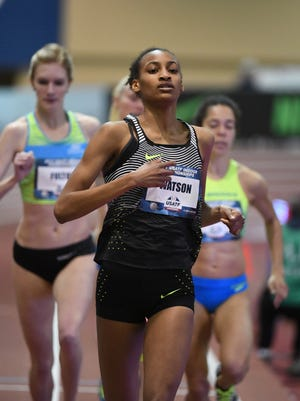 Mar 4, 2017; Albuquerque, NM, USA: Samantha Watson aka Sammy Watson reacts after winning the women's 1,000m heat in a national high school record 2:43.18 during the USA Indoor Championships at Albuquerque Convention Center.
