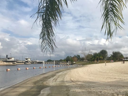 This is the swimming beach at the W.P. Franklin Lock and dam on the Caloosahatchee in south Olga.