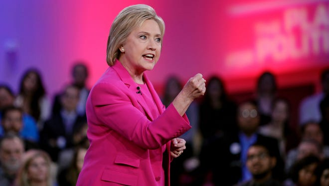 Hillary Clinton speaks during a televised town hall meeting in Las Vegas on Feb. 18, 2016.