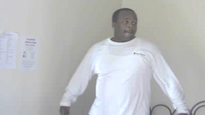 A surveillance camera captured this unidentified man, seen inside several Nyack College buildings.