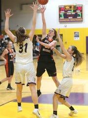 Ashland's Kylie Radebaugh makes a jump shot while playing