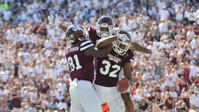 Justin Johnson (81) leads Mississippi State's group of tight ends in to the 2016 season.