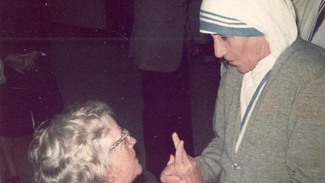 Mary Varick, on a mission to help those afflicted with physical disabilities, is seen here with Mother Theresa of Calcutta.