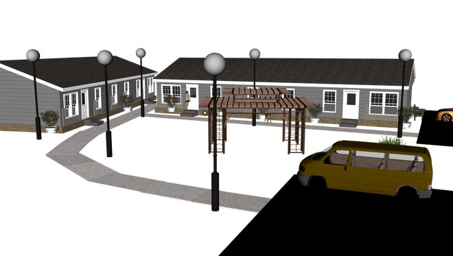 This artist's rendering shows how planned cabins will look as viewed from Mechem Drive.